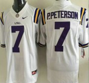 Wholesale Cheap LSU Tigers #7 Patrick Peterson White 2015 College Football Nike Limited Jersey