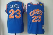 Wholesale Cheap Men's Cleveland Cavaliers #23 LeBron James 2017 The NBA Finals Patch CavFanatic Blue Hardwood Classics Soul Swingman Throwback Jersey