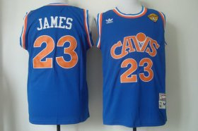 Wholesale Cheap Men\'s Cleveland Cavaliers #23 LeBron James 2017 The NBA Finals Patch CavFanatic Blue Hardwood Classics Soul Swingman Throwback Jersey