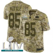Wholesale Cheap Nike 49ers #85 George Kittle Camo Super Bowl LIV 2020 Men's Stitched NFL Limited 2018 Salute To Service Jersey