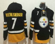 Wholesale Cheap Men's Pittsburgh Steelers #7 Ben Roethlisberger NEW Black Pocket Stitched NFL Pullover Hoodie