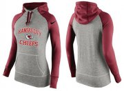Wholesale Cheap Women's Nike Kansas City Chiefs Performance Hoodie Grey & Red_3