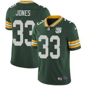 Wholesale Cheap Nike Packers #33 Aaron Jones Green Team Color Men\'s 100th Season Stitched NFL Vapor Untouchable Limited Jersey