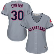 Wholesale Cheap Indians #30 Joe Carter Grey Road Women's Stitched MLB Jersey