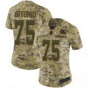 Wholesale Cheap Nike Browns #75 Joel Bitonio Camo Women's Stitched NFL Limited 2018 Salute to Service Jersey