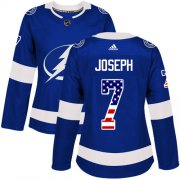 Cheap Adidas Lightning #7 Mathieu Joseph Blue Home Authentic USA Flag Women's Stitched NHL Jersey