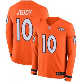 Wholesale Cheap Nike Broncos #10 Jerry Jeudy Orange Team Color Youth Stitched NFL Limited Therma Long Sleeve Jersey