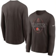 Wholesale Cheap Cleveland Browns Nike Icon Legend Performance Long Sleeve T-Shirt Brown