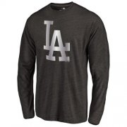 Wholesale Cheap Los Angeles Dodgers Platinum Collection Long Sleeve Tri-Blend T-Shirt Black