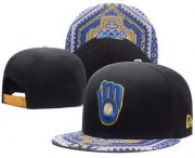 Wholesale Cheap MLB Milwaukee Brewers Snapback Ajustable Cap Hat 2