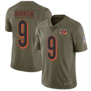 Wholesale Cheap Nike Bengals #9 Joe Burrow Olive Men's Stitched NFL Limited 2017 Salute To Service Jersey