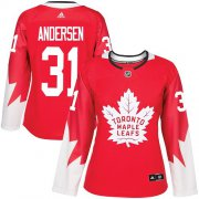 Wholesale Cheap Adidas Maple Leafs #31 Frederik Andersen Red Team Canada Authentic Women's Stitched NHL Jersey