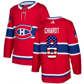 Wholesale Cheap Adidas Canadiens #8 Ben Chiarot Red Home Authentic USA Flag Stitched NHL Jersey