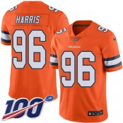 Wholesale Cheap Nike Broncos #96 Shelby Harris Orange Youth Stitched NFL Limited Rush 100th Season Jersey