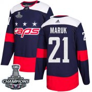 Wholesale Cheap Adidas Capitals #21 Dennis Maruk Navy Authentic 2018 Stadium Series Stanley Cup Final Champions Stitched NHL Jersey