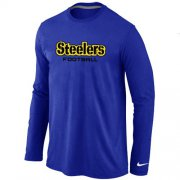 Wholesale Cheap Nike Pittsburgh Steelers Authentic Font Long Sleeve T-Shirt Blue
