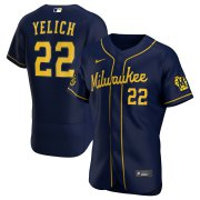 Wholesale Cheap Milwaukee Brewers Christian Yelich Men's Nike Navy Alternate 2020 Authentic Player MLB Jersey