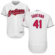 Wholesale Cheap Indians #41 Carlos Santana White Flexbase Authentic Collection Stitched MLB Jersey