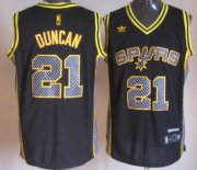 Wholesale Cheap San Antonio Spurs #21 Tim Duncan Black Electricity Fashion Jersey