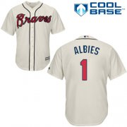 Wholesale Cheap Braves #1 Ozzie Albies Cream Cool Base Stitched Youth MLB Jersey