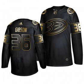 Wholesale Cheap Adidas Ducks #36 John Gibson Men\'s 2019 Black Golden Edition Authentic Stitched NHL Jersey
