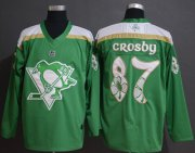 Wholesale Cheap Adidas Penguins #87 Sidney Crosby Green Authentic 2019 St. Patrick's Day Stitched NHL Jersey