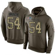 Wholesale Cheap NFL Men's Nike New England Patriots #54 Tedy Bruschi Stitched Green Olive Salute To Service KO Performance Hoodie