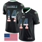 Wholesale Cheap Nike Jets #14 Sam Darnold Black Men's Stitched NFL Limited Rush USA Flag Jersey