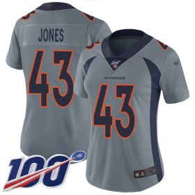 Wholesale Cheap Nike Broncos #43 Joe Jones Gray Women\'s Stitched NFL Limited Inverted Legend 100th Season Jersey