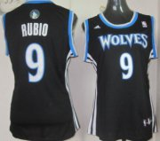 Wholesale Cheap Minnesota Timberwolves #9 Ricky Rubio Black Womens Jersey