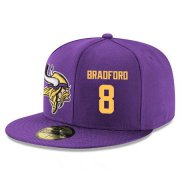 Wholesale Cheap Minnesota Vikings #8 Sam Bradford Snapback Cap NFL Player Purple with Gold Number Stitched Hat