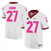 Wholesale Cheap Georgia Bulldogs 27 Nick Chubb White Breast Cancer Awareness College Football Jersey
