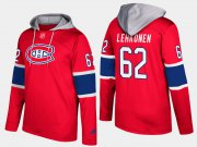 Wholesale Cheap Canadiens #62 Artturi Lehkonen Red Name And Number Hoodie