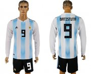Wholesale Cheap Argentina #9 Batistuta Home Long Sleeves Soccer Country Jersey
