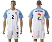 Wholesale Cheap USA #2 Villafana White Rainbow Soccer Country Jersey