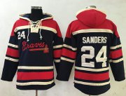 Wholesale Cheap Braves #24 Deion Sanders Navy Blue Sawyer Hooded Sweatshirt MLB Hoodie