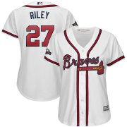 Wholesale Cheap Atlanta Braves #27 Austin Riley Majestic Women's 2019 Postseason Official Cool Base Player Jersey White