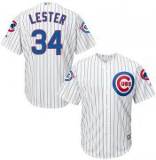 Wholesale Cheap Cubs #34 Jon Lester White Strip New Cool Base with 100 Years at Wrigley Field Commemorative Patch Stitched MLB Jersey