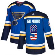 Wholesale Cheap Adidas Blues #9 Doug Gilmour Blue Home Authentic USA Flag Stitched NHL Jersey