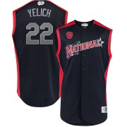Wholesale Cheap National League #22 Christian Yelich Majestic 2019 MLB All-Star Game Workout Player Jersey Navy