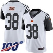 Wholesale Cheap Nike Bengals #38 LeShaun Sims White Men's Stitched NFL Limited Rush 100th Season Jersey