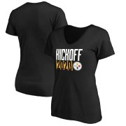 Wholesale Cheap Pittsburgh Steelers Fanatics Branded Women's Kickoff 2020 V-Neck T-Shirt Black