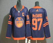 Wholesale Cheap Youth Edmonton Oilers #97 Connor McDavid Navy Blue 50th Anniversary Adidas Stitched NHL Jersey