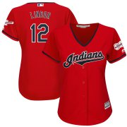 Wholesale Cheap Cleveland Indians #12 Francisco Lindor Majestic Women's Alternate 2019 All-Star Game Patch Cool Base Player Jersey Scarlet