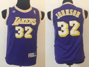 Cheap Los Angeles Lakers #32 Magic Johnson Purple Swingman Throwback Kids Jersey