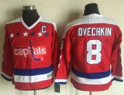 Wholesale Cheap Capitals #8 Alex Ovechkin Red CCM Throwback Stitched Youth NHL Jersey