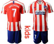 Wholesale Cheap Atletico Madrid #7 Griezmann Home Kid Soccer Club Jersey