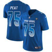 Wholesale Cheap Nike Saints #75 Andrus Peat Royal Youth Stitched NFL Limited NFC 2019 Pro Bowl Jersey