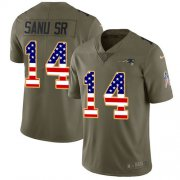 Wholesale Cheap Nike Patriots #14 Mohamed Sanu Sr Olive/USA Flag Youth Stitched NFL Limited 2017 Salute to Service Jersey