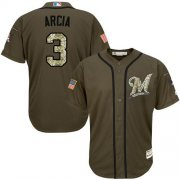 Wholesale Cheap Brewers #3 Orlando Arcia Green Salute to Service Stitched MLB Jersey